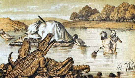 Desc: Alligators among us from Tracks of McKinlay expedition in search of Burke and Wills lithograph by V. Brooks • Credit: [ The Art Archive ] • Ref: AA328796